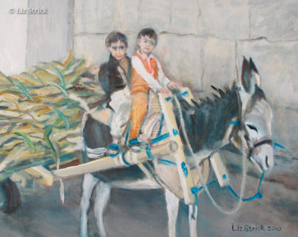 Two little boys and a mule